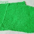 Large Soft Hand Knit Face or Dish Cloth Green