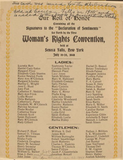 United States History - Immigration & Reform - Women's Rights Movement - 1820 - 1860