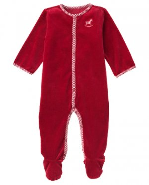 Janie & Jack Polar Bear holiday velour sleeper 6-12 NWT