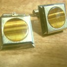"Vintage Cufflinks "" DESTINO ""Tiger Eye / Goldtone Elegant Design"