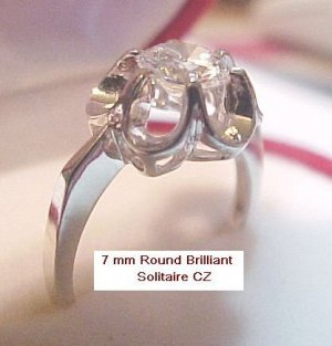 Avon Sterling Silver 7 mm CZ  Buttercup Ring Sz 6 NOS