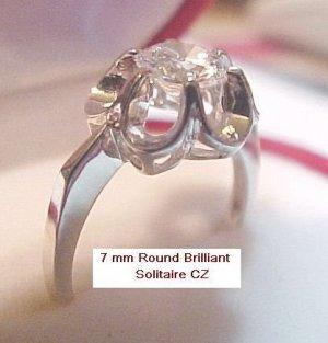 Avon Sterling Silver 7 mm CZ  Buttercup Ring Sz 6 NOS