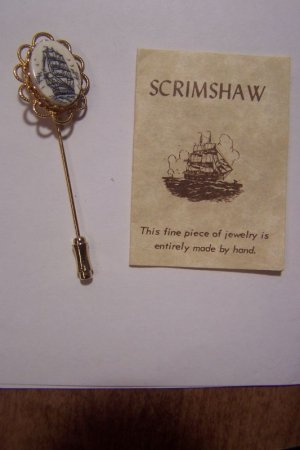 Authentic Scrimshaw Stick Pin Tall Ship Scene Hand Made Estate