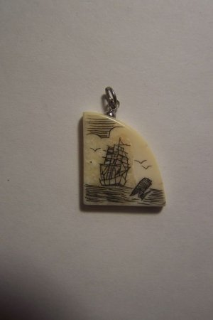 Authentic Scrimshaw Pendant / Charm Tall Ship Scene Hand Made Estate