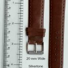 New 20mm Brown Leather Watch Band W/ Silvertone Buckle W/Spring Bars