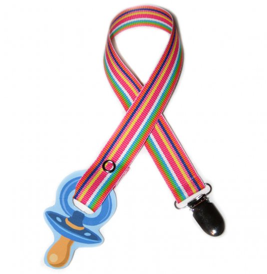 Snigglefritz Pink Prep Ribbon Paci Clip - FREE SHIP!