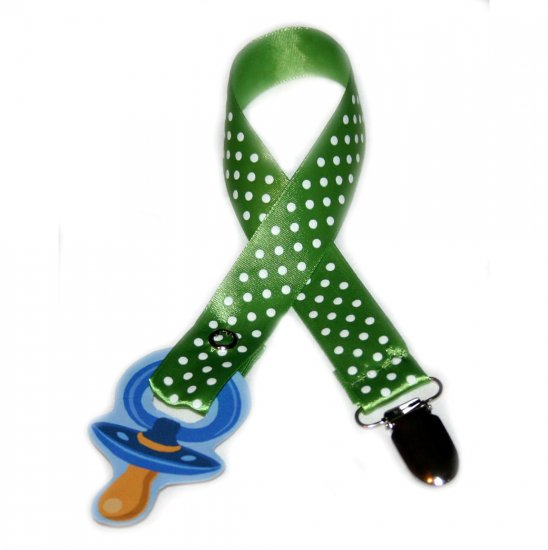 Snigglefritz Green Polka Dot Ribbon Paci Clip - Clip with STYLE! - FREE SHIP!