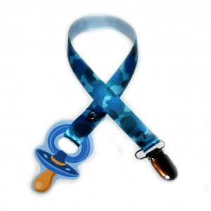 Snigglefritz Hip Blue Camo Pacifier Holder PACI CLIP w/ STYLE