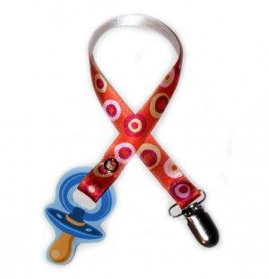 Snigglefritz Pink/Orange Retro Dot Ribbon Paci Clip - Clip with STYLE! - FREE SHIP!