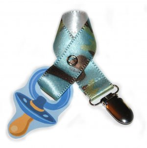 Snigglefritz Baby Blue Camo Ribbon Paci Clip - Clip with STYLE! - FREE SHIP!