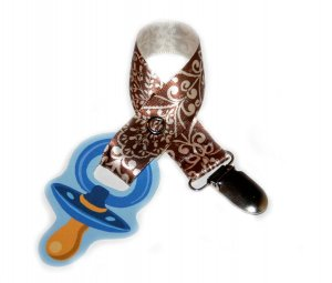 Snigglefritz Brown Chic Scroll Ribbon Paci Clip - Clip with STYLE! - FREE SHIP!