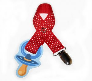 Snigglefritz Red Polka Dot Ribbon Paci Clip - Clip with STYLE! - FREE SHIP!