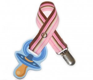 Snigglefritz Pink & Brown Stripe Ribbon Paci Clip - Clip with STYLE! - FREE SHIP!