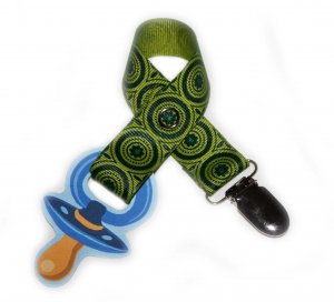 Snigglefritz Green & Turquoise Retro Circles Pacifier Holder PACI CLIP w/ STYLE
