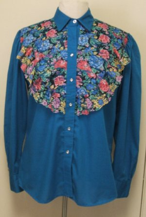 Vtg ROCKMOUNT Teal WESTERN SHIRT TOP 36 L Rockabilly
