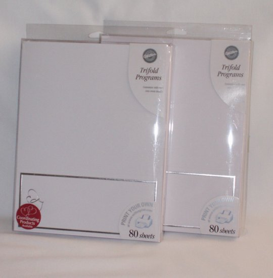 "160 Wilton ""Print Your Own"" Trifold Wedding Progrms ~ White with Silver Hearts"