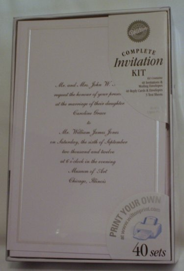 WILTON INVITATIONS Printable Kits Keeping w Tradition White