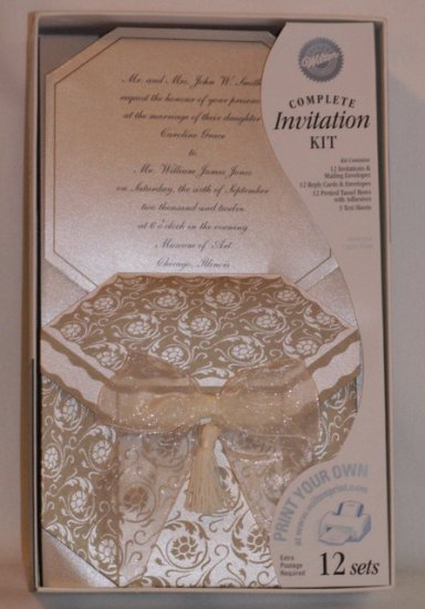 WILTON INVITATIONS Printable Complete kits CAPTIVATING GOLD  Wedding Occassion Engagement Party