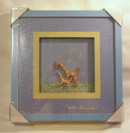 Set of 2 JOHN LENNON 3D SHADOWBOX PICTURES Giraffe Rhino New in Package
