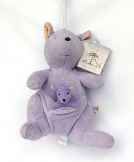 CARTERS JOHN LENNON MUSICAL PURPLE KANGAROO CRIB TOY Pull Toy  New with Tags