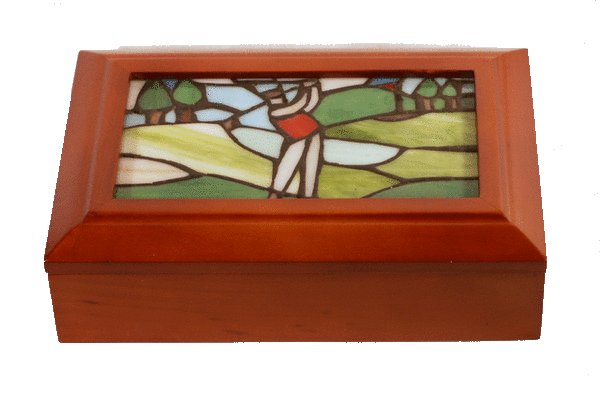Stained Glass Golf Motif Accessory Box Jewelry Box