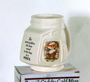 "Ceramic Golf Pencil Holder / Cup Mug ""Best Wood in the Bag"""