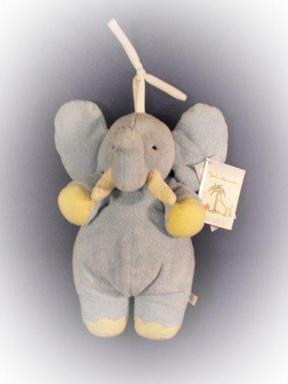 JOHN LENNON BLUE MUSICAL ELEPHANT CRIB TOY Pull Toy Imagine  New with Tags