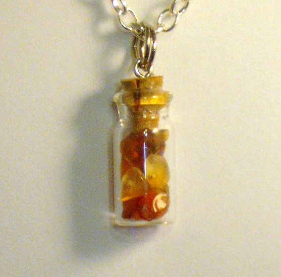 OOAK Tiny Bottle Pendant w/Carnelian Stone Chips, Silver Plate Chain Necklace; made by Ms. J jewelry