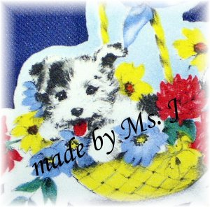 OOAK Vintage Ephemera Magnet, Pup in a Basket, 1950's image; made by Ms. J