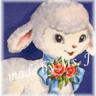 OOAK Vintage Ephemera Magnet, Flocked Lamb, 1950's image; made by Ms. J