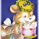 OOAK Vintage Ephemera Magnet, Flocked Birthday Bear, 1950's Image; made by Ms. J