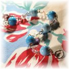 NOW 20% OFF: Light Blue Glazed Ceramic Bead Bracelet; made by Ms. J jewelry