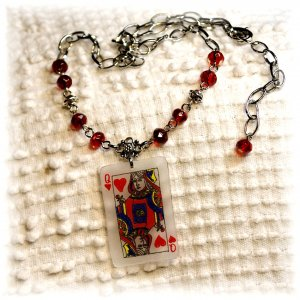 Queen of Hearts Pendant w/Ruby Red Czech Glass Accents Necklace; made by Ms. J