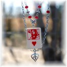 Queen of Hearts Game Piece Pendant w/Ruby Red Czech Glass Accents Necklace; made by Ms. J jewelry