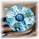 NOW 20% OFF: Blue Vintage Fabric & Button Flower Hairdooey (barrette); made by Ms. J