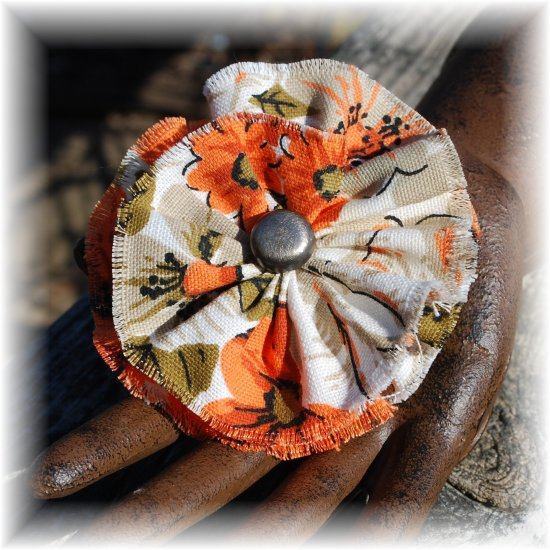 NOW 25% OFF: Orange & Khaki Vintage Fabric Flower Hairdooey (barrette); made by Ms. J