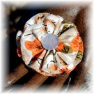 NOW 25% OFF: Orange & Khaki Vintage Fabric Flower Hairdooey (barrette); made by Ms. J