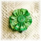 NOW 25% OFF: Green Vintage Fabric Flower Hairdooey (hairclip); made by Ms. J jewelry