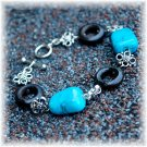 Synthetic Turquoise & Wood Bracelet; made by Ms. J jewelry