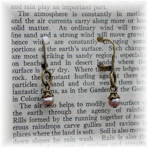 Dusky Pink Champagne Freshwater Pearl Earrings w/ Antiqued Brass Findings; made by Ms. J jewelry