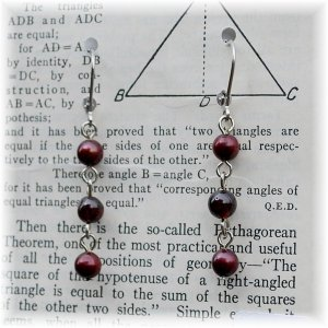 Garnet Bead & BlackCherry Red Freshwater Pearl Earrings; made by Ms. J jewelry