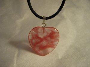 "1"" Glass Heart Pendant Rose Blush Pink Brushstrokes Unique"