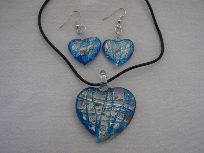 Handmade Lampwork Glass Heart Pendant & Earrings Turquoise Blue Silver & Gold Foil 3505