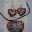 Handmade Lampwork Glass Heart Pendant & Earrings Red Silver & Gold Foil 3511