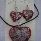 Handmade Lampwork Glass Heart Pendant & Earrings Red Silver & Gold Foil 3511
