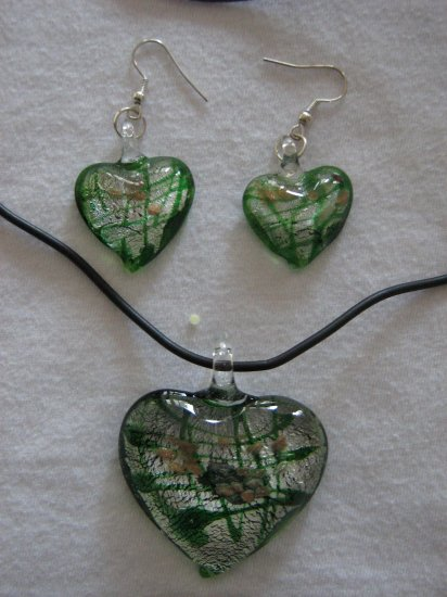 Handmade Lampwork Glass Heart Pendant & Earrings Green, Silver & Gold Foil 3525