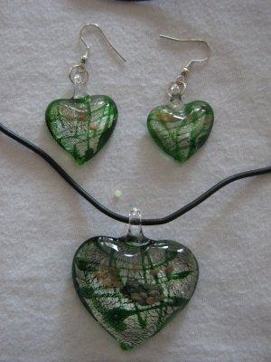 Handmade Lampwork Glass Heart Pendant & Earrings Green, Silver & Gold Foil 3525
