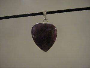 """Unique 3/4"""" Amethyst Heart Pendant Necklace Quartz 3569"""
