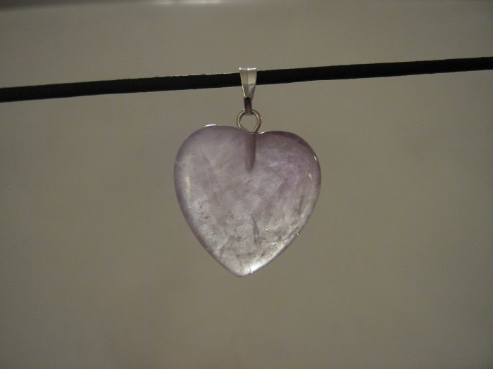 "Unique 3/4"" Amethyst Heart Pendant Necklace Quartz 3573"