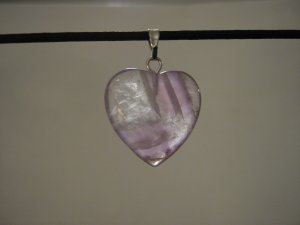 "Unique 3/4"" Amethyst Heart Pendant Necklace Quartz 3577"
